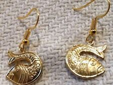 Sent in Damask Gift Box Gold Plated Lucky Fish Hanging Earrings