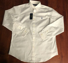 NWT POLO RALPH LAUREN WHITE LONG SLEEVE COTTON SHIRT SZ M