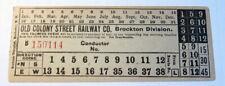 Old Colony Street Railway Co. Brockton Division Streetcar & Trolley Transfer