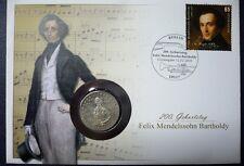 Deutschland Numisbrief 2009 Felix Mendelssohn-Bartholdy Münze 5 DM 1984