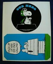 VINTAGE 1960'S PEANUTS SNOOPY STICKERS 2 BIG STICKERS 1 SHEET OUR HERO,