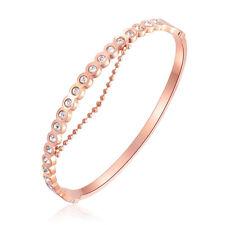 Edelstahl Tennis Armband Armreif Zirkonia Rosegold Kristall Geschenk Rose Gold