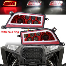 Newest Pair Red Halo Style LED Headlights For Polaris General and Polaris RZR XP