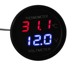 Car LED Digital Red&Blue Display 2 In 1 Dual Voltmeter Thermometer 12V
