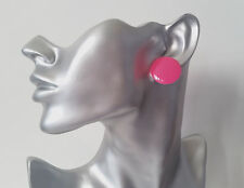 "1 pair of big & fab NEON PINK 1"" flat plastic button style stud earrings - NEW"