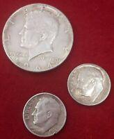 LOTE1/2 Dolar - Half Dollar. Plata. Kennedy. U.S.A - 1964 2 DIME PLATA 1963,1950