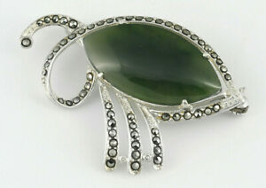 Art Deco All Sterling Silver Jadeite Jade And Marcasite Brooch