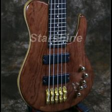 5 String Electric Bass Guitar Solid Red Wood Top Ash Body Gold Hardware Active