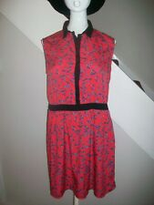 A Wear Red Summer butterfly print Dress With Collar - UK Size 14
