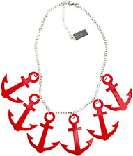 60137 Red Anchors Aweigh Necklace Nautical Sailor Pinup Rockabilly Sourpuss