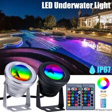 More details for led rgb pond spot light aquarium submersible spotlights underwater lamp uk plug