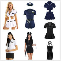 Ladies Sexy Cop Costume Womens Police Officer Uniform Cosplay Fancy Dress Outfit