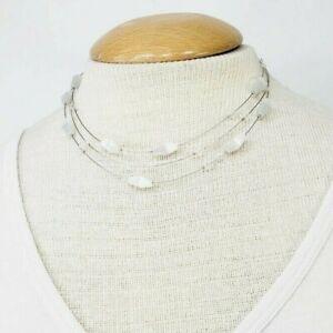 Avon Necklace White Station Beads Multi-Strand Glass Floating
