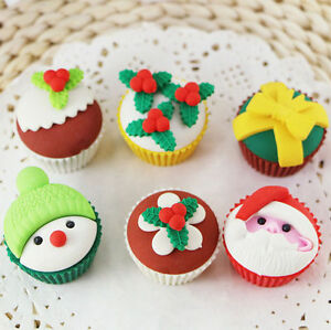 Santa Claus Snowman Christmas Cupcake Erasers Rubbers Stocking Fillers Gift