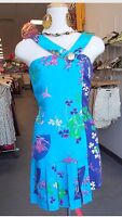H&M VERSACE DRESS SILK BLUE ORIENTAL FLOWER  ASYMETRIC PLEATS UK 8 EUR 34 US 4