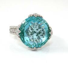 Judith Ripka Sterling Silver Blue Spinel Clear CZ Ring Size 8