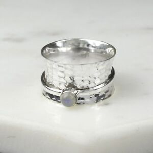925 STERLING SILVER BIRTHSTONE SPINNING RING JUNE MOONSTONE SIZES N P R1/2