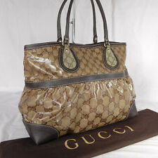 Authentic Gucci Brown GG Crystal Coated Canvas Large Shoulder Tote Handbag VGC