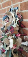8 Foot Rag Garland prim Fabric Country Primitive Swag Farmhouse Christmas rustic