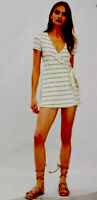 Zara Cream Black Striped Playsuit Mini Summer Dress With Shorts Jumpsuit Sz S