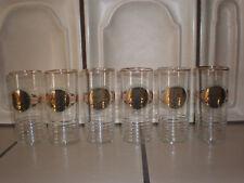 6 Glasbecher Trinkgläser Goldrand dünnwändig Vintage
