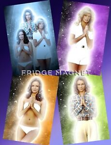 CHARLIE'S ANGELS Kate Jackson Jaclyn Smith Farrah Fawcett FRIDGE MAGNET Set x 4