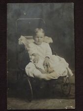 YOUNG TODDLER IN OLD BABY CARRAIGE Vtg REAL PHOTO POSTCARD