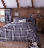 EDINBURGH SINGLE GREY TARTAN PLAID REVERSIBLE COTTON DUVET COVER SET