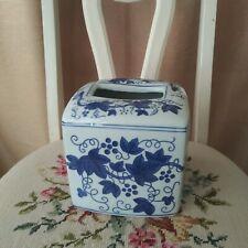 Vintage chinoiserie White Blue Heavy Ceramic Tissue Box Cover