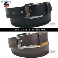 Men's Casual Black Dress Leather Belt w/ Buckle New S-XL classes Black Brown306