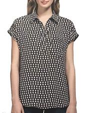 Pleione Ladies' Short Sleeve Blouse, Black & White Print, US Size: M