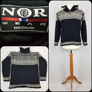 "Mens Nor Wear M/36/38"" Jumper Sweater Wool Fairisle Lined Icelandic Nordic"