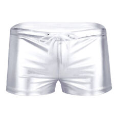 Sexy Men Metallic Boxer Brief Underwear Swim Trunks Drawstring Shorts Underpants