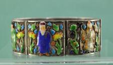 antique Chinese Export Silver filigree Enamel Bracelet 6 Immortal figures 17.5
