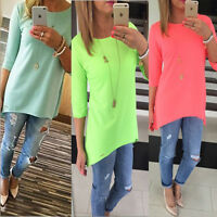 NEW Women Summer Spring Loose Casual Shirt Tops Blouse Tee Plus Oversize US 6-20