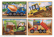 Melissa & Doug 4 Wooden Construction Vehicles Jigsaw in a box Stocking Filler