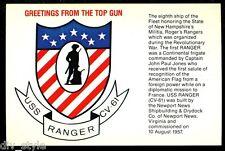 TOP GUN USS Ranger cv-61 Tarjeta Postal NOS MARINA Enviar Avión Transportista
