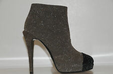 NEW CHANEL GLITTER LEATHER BLACK GREY BOOTIES ANKLE BOOTS SHOES 36.5