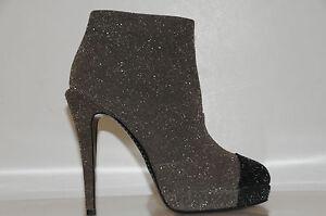 Neuf Chanel Paillette Cuir Noir Gris Bottines Chaussures 36.5