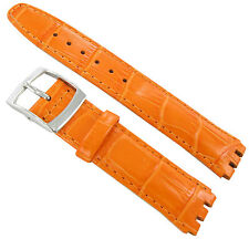 17mm Genuine Leather Alligator Grain Padded Orange Watch Band Fits Swatch