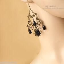 Lady Vintage Style Bronze Metal Pearl Drop Stone Dangle Handmade Gothic Earrings