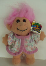 "8"" 1991 ACME TROLL-KINS PINK HAIR TROLL SOFT PLUSH WITH TAG"