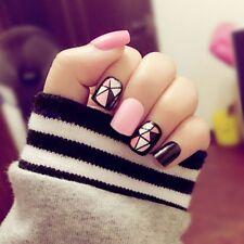 24Pcs/Set Black + Hot Pink Acrylic Nail Tips Fingernails Short False Nails Art
