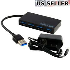 Powered 4-Port USB 3.0 Hub 5Gbps Portable Compact for PC Mac Laptop Desktop