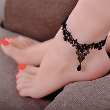 Gothic Anklet Chain Black Lace Woven Flowers Water Drop Pendant Anklet Jewelry~