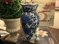 "Blue & White~Wall Pocket~Porcelain~9.25""H~Large Floral Pattern~FREE SHIPPING!"