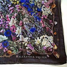 NEW AUTHENTIC ALEXANDER MСQUEEN BLACK FLOWERS MULTI-COLOR PRINT 100% SILK SCARF