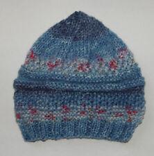 Hand knitted Baby Hat Denim Blue Mix Newborn