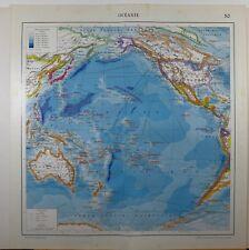 1929 original map ~ OCEANIA AUSTRALIA POLINESIA Indie orientali profondità del mare