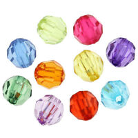 500x Mixed Acrylic Faceted Round Spacer Beads 6mm Dia. T4Q9
